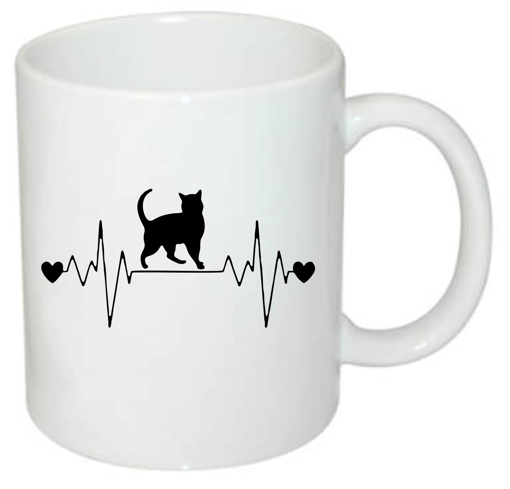 Katė einanti ant puodelio